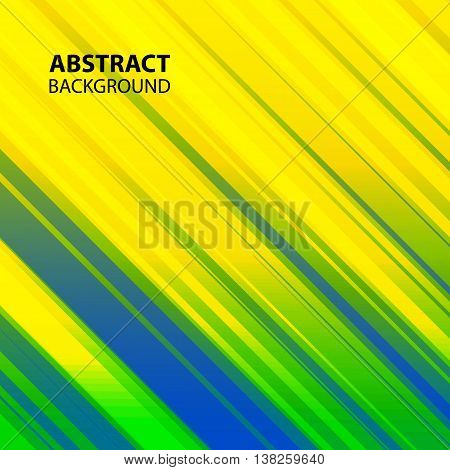 Vector abstract background with straight lines in Brazil flag colors.