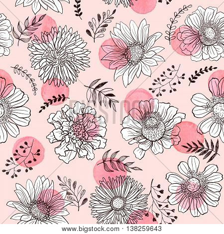 Seamless pattern from flowers outlines and watercolor dots on white background. Watercolor spots with hand drawn flower outlines.