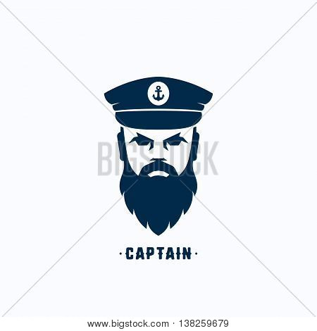Captain Face Silhouette Vector Logo Template. Seafarer Symbol. Skipper in a Hat Emblem. Bearded Seaman Head Sign. Isolated.