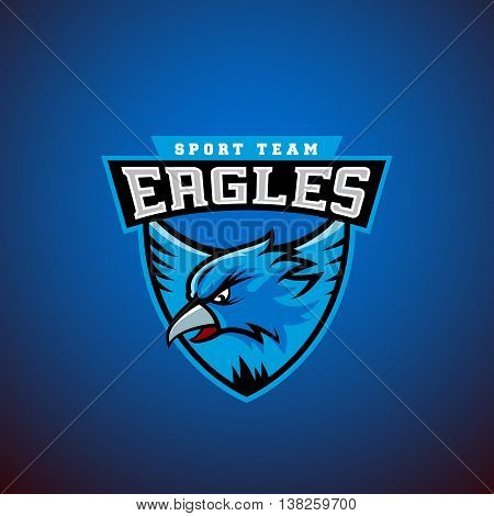 Eagle in a Shield. Abstract Vector Sport Emblem Template. League ...
