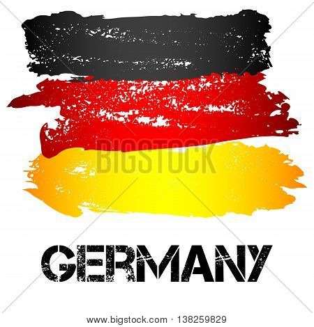 Flag of Germany from brush strokes in grunge style isolated on white background. Country in Western Europe. Vector illustration