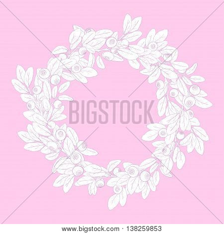 Round wreath or frame of branches of blueberry with berries on a pink background. Sprigs painted pink tench and filled with white. Wreath isolated from the background. Vector illustration.