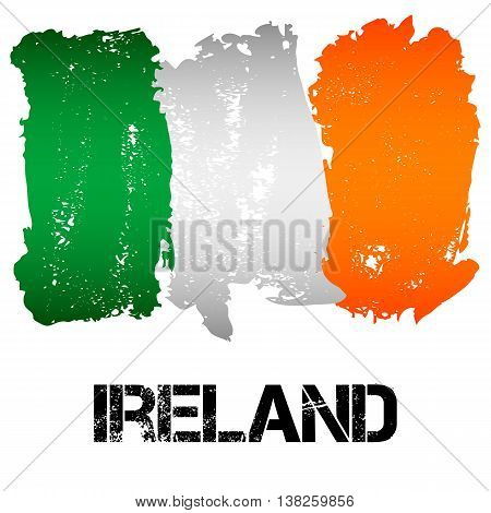 Flag of Ireland from brush strokes in grunge style isolated on white background. Country in Western Europe. Vector illustration