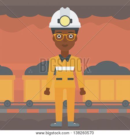 African-american confident coal miner. A female miner in hardhat with torch. Miner standing on the background of mining tunnel with cart full of coal. Vector flat design illustration. Square layout.