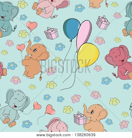 Vector seamless pattern with cute baby elephants, balloons and umbrellas decorated by flowers, hearts and curls. Childish animals in soft colors on a light background. Hand-sewn style with white seams