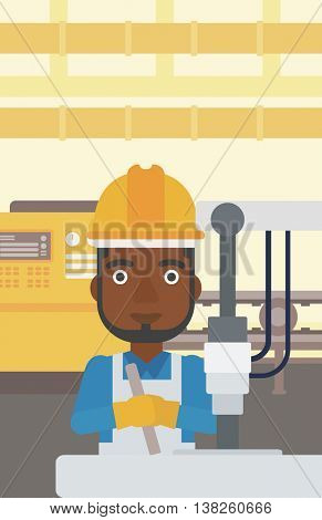 An african-american man working on industrial drilling machine. Man using drilling machine at manufactory. Metalworker drilling at workplace. Vector flat design illustration. Vertical layout.