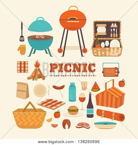 Vector set of summer picnic. Illustration barbecue outdoors. Collection of icons for picnic: barbecue grills, basket, steak, fruits, sandwich, wine and others. Illustration of a picnic in the park.