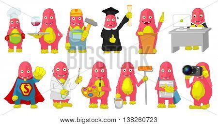 Set of cute big pink monsters wearing uniforms of different professions such as chef, waiter, office worker, businessman, carpenter, painter, doctor. Vector cartoon illustration isolated on white