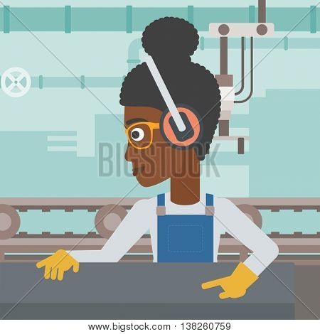 An african-american woman working on metal press machine. Worker in headphones operating metal press machine at workshop. Woman using press machine. Vector flat design illustration. Square layout.