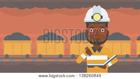 An african-american miner checking documents with the flashlight. Mine worker in hard hat on the background of mining tunnel with cart full of coal. Vector flat design illustration. Horizontal layout.