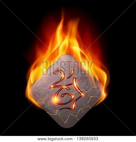 Diamond-shaped stone with magic rune in orange flame
