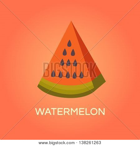 Vector illustration of watermelon. Fresh juicy fruit. Banner with a slice of watermelon. Background  for cards, wallpapers, invitations, web pages, cover, poster. Flat style. Template for design.