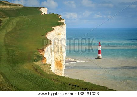 Chalk cliff at Beachy Head near Eastbourne. East Sussex. England