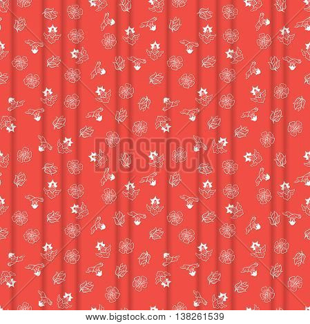 Red seamless background with small flowers. The illustration contains transparency and effects. EPS10
