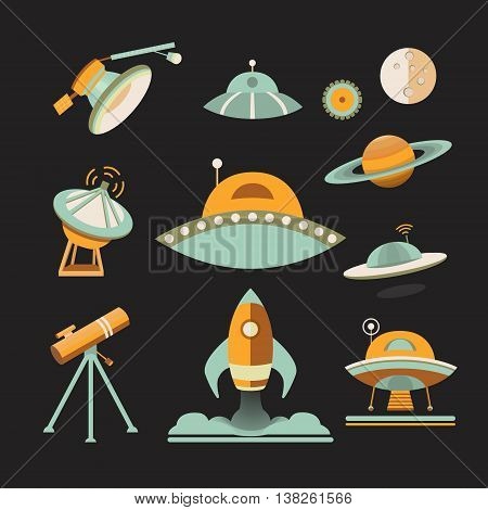 Space icon set. Collection of vector space objects: planets, ufo, rocket, moon, satellite, telescope. Icons flat style. Symbols of universe and cosmos. Illustration in vintage style