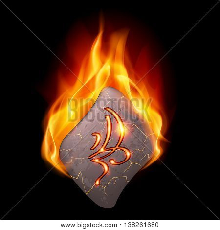 Cracked stone with magic rune burning in orange flame