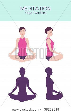 Vector set of woman figure sitting in meditation, yoga practice, relaxation pose, detailed figure and silhouette