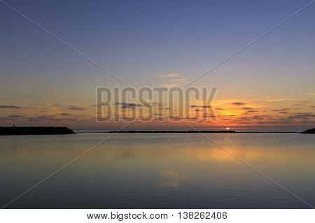 Sunrise over caleta de fuste beach Fuerteventura Spain