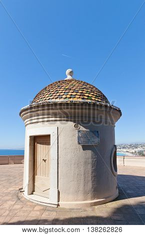 NICE FRANCE - APRIL 11 2016: Sentry box on the top of Tower Bellanda on Castle Hill in Nice France. Bellanda Tower was erected in 1824 on the ruins of 15th c. Mole Tower