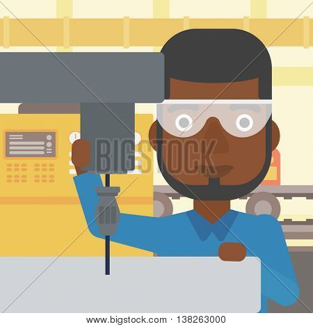 An african-american man working on a milling machine at workshop. Man using milling machine at factory. Man making a hole using a milling machine. Vector flat design illustration. Square layout.
