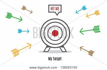 Vector : Many Arrow Rush To Dart Board, Business Concept, Hit The Target Group