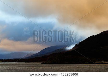 Last light on Loch leven Glencoe Scotland.