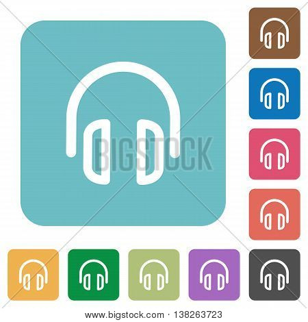 Flat headset symbol icons on rounded square color backgrounds.