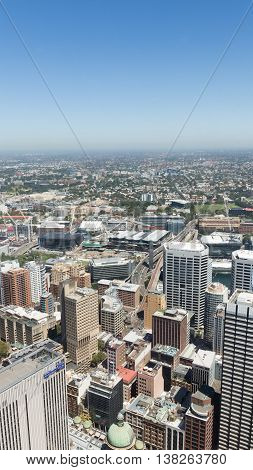 Sydney - February 25 2016: View from the top of Sydney Tower visible infrastructure of the city and many skyscrapers February 25 2016 Sydney Australia