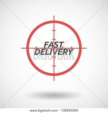 Isolated Red Crosshair Icon With  The Text Fast Delivery
