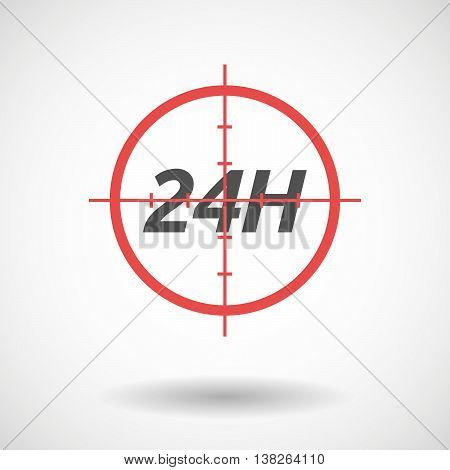 Isolated Red Crosshair Icon With    The Text 24H