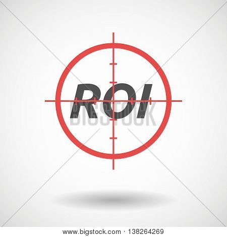 Isolated Red Crosshair Icon With    The Return Of Investment Acronym Roi