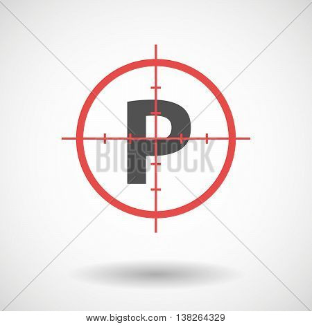 Isolated Red Crosshair Icon With    The Letter P
