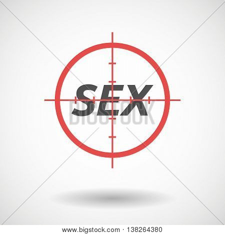 Isolated Red Crosshair Icon With    The Text Sex