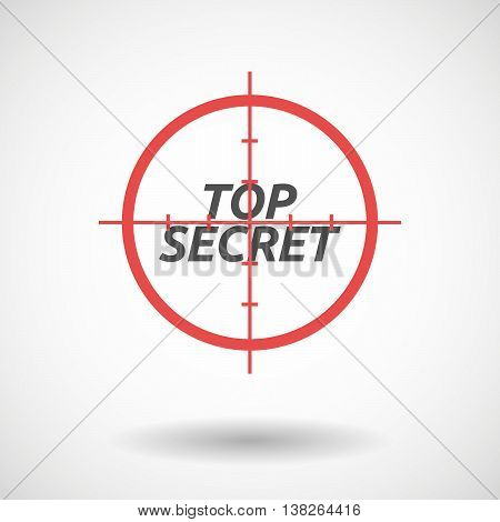Isolated Red Crosshair Icon With    The Text Top Secret