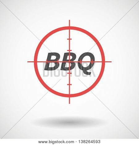 Isolated Red Crosshair Icon With    The Text Bbq