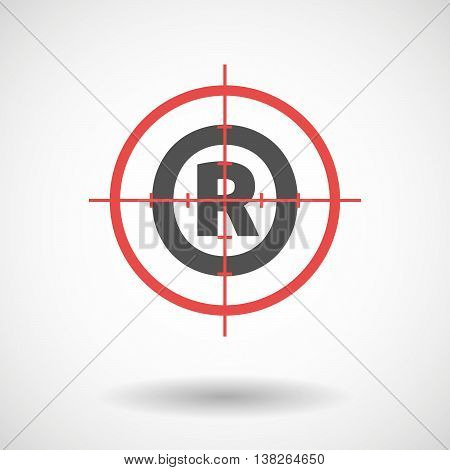 Isolated Red Crosshair Icon With    The Registered Trademark Symbol