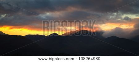 Sunset over the fells in the lake district UK
