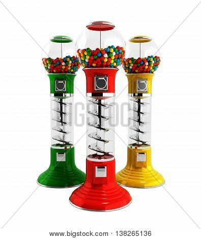 Colored  Vintage Gumball Dispenser Machine Made Of Glass And Reflective Plastic With Chrome Trim Fil