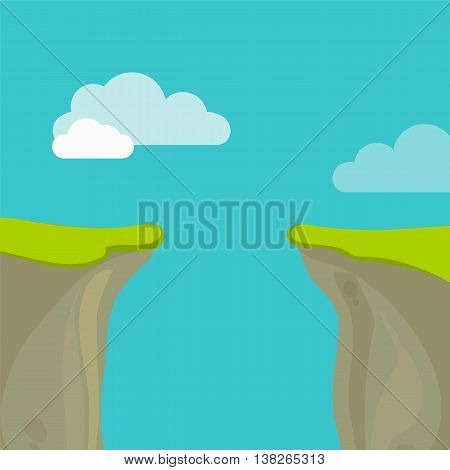 Abyss, Gap Or Cliff Concept With Sky And Clouds. Vector Colorful Illustration In Flat Style