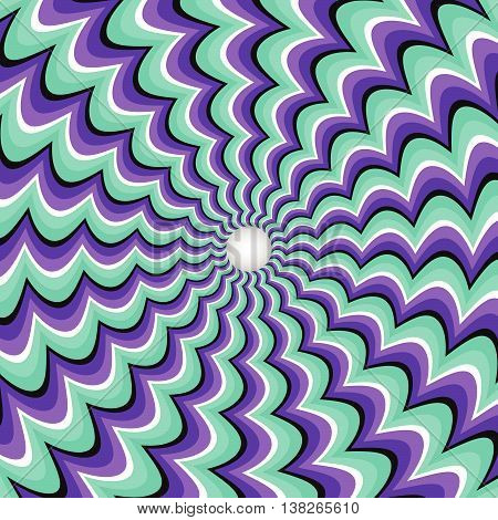 Meandering strips funnel. Rotating hole. Motley moving background. Optical illusion illustration.