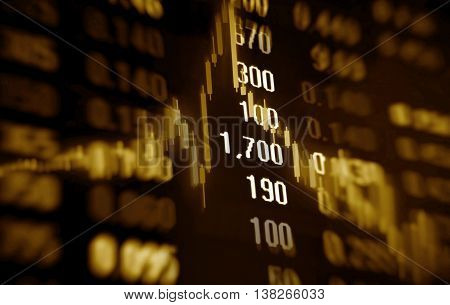 3D rendering Stock Market Data and chart