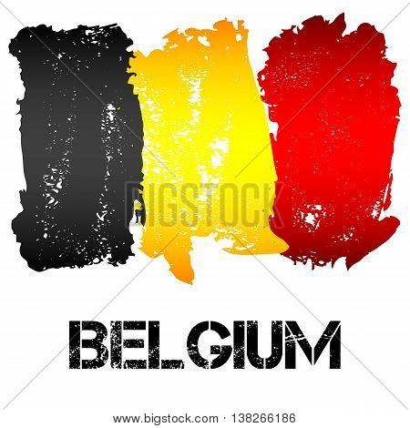 Flag of Belgium from brush strokes in grunge style isolated on white background. Country in Western Europe. Vector illustration