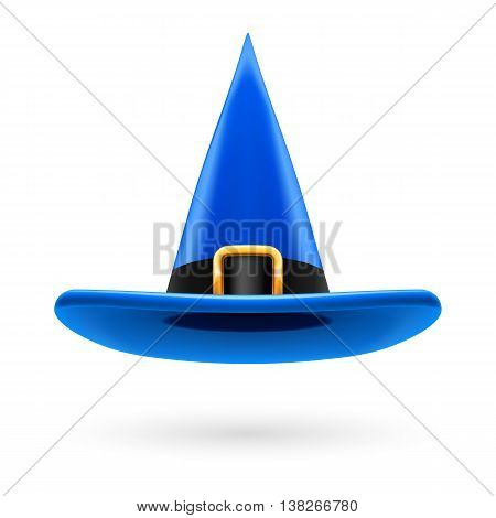 Blue witch hat with golden buckle and hatband