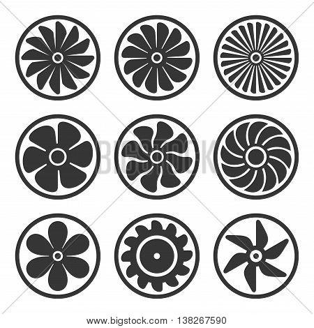 Turbines and Fan Icons Set. Turbojet Engine Power. Vector Illustration