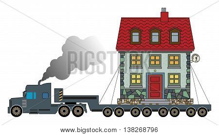 Cartoon Truck delivers the house, vector illustration