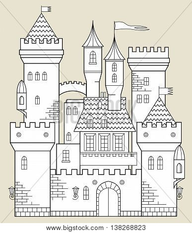 Cartoon white Castle fairy tale, vector illustration
