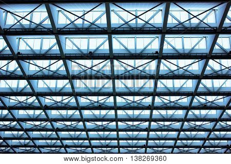 Metal design of an interior in a modern building in blue light
