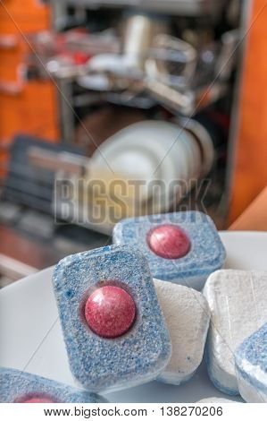 Dishwasher Tablets - Detergent For Cleaning Dishes.