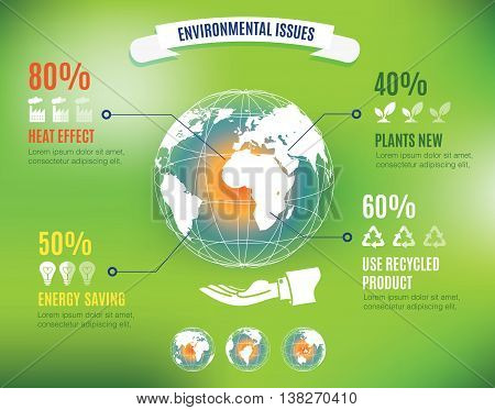 Vector : Infographic Of Environmental Issues With Global World Map Floating Over Hand Of Business Ma