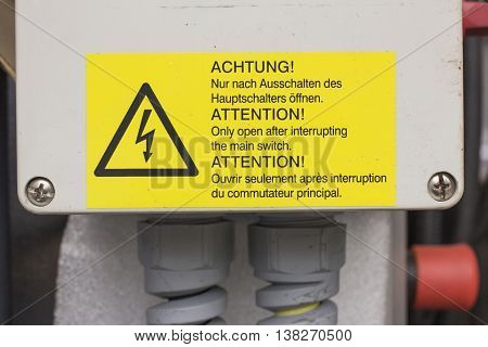 Warning sign for high voltage danger electric